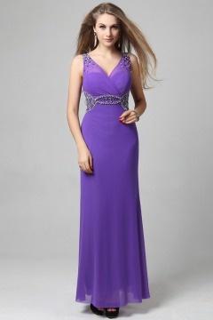 Robe longue de soirée sirène ornée de bijoux mousseline lilas