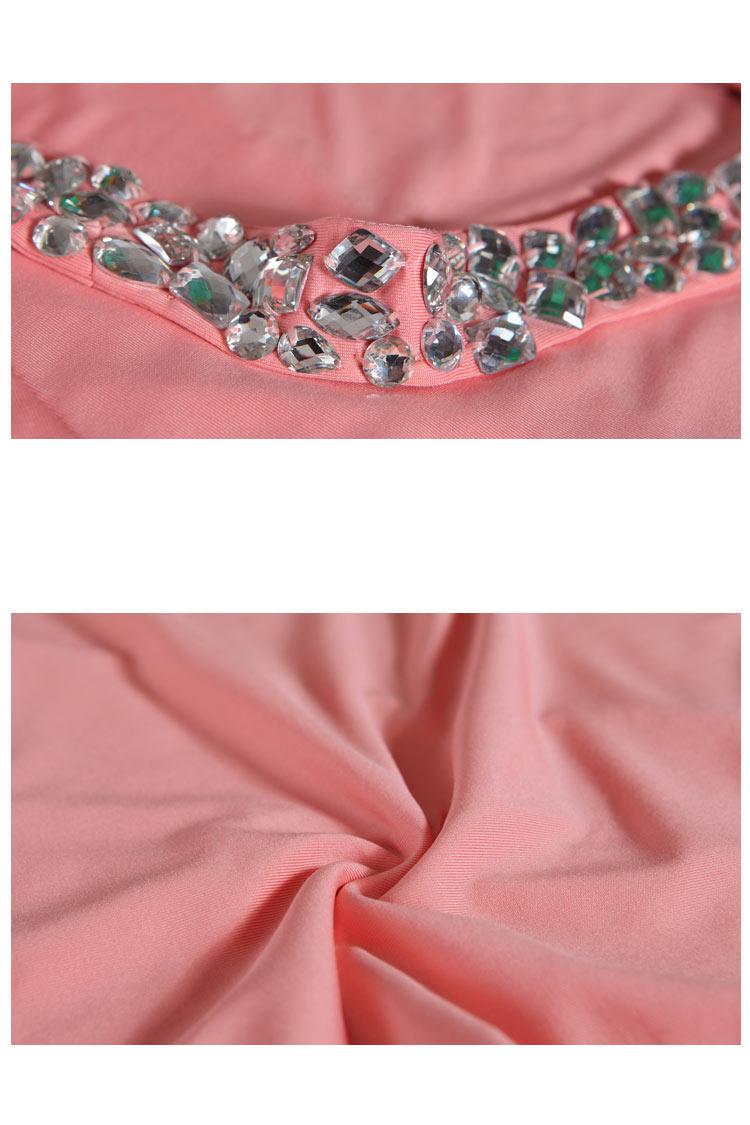 robe sexy rose longue dos nu avec bretelle orné de bijoux
