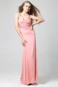 Robe longue de soirée dos nu ornée de bijoux mousseline rose
