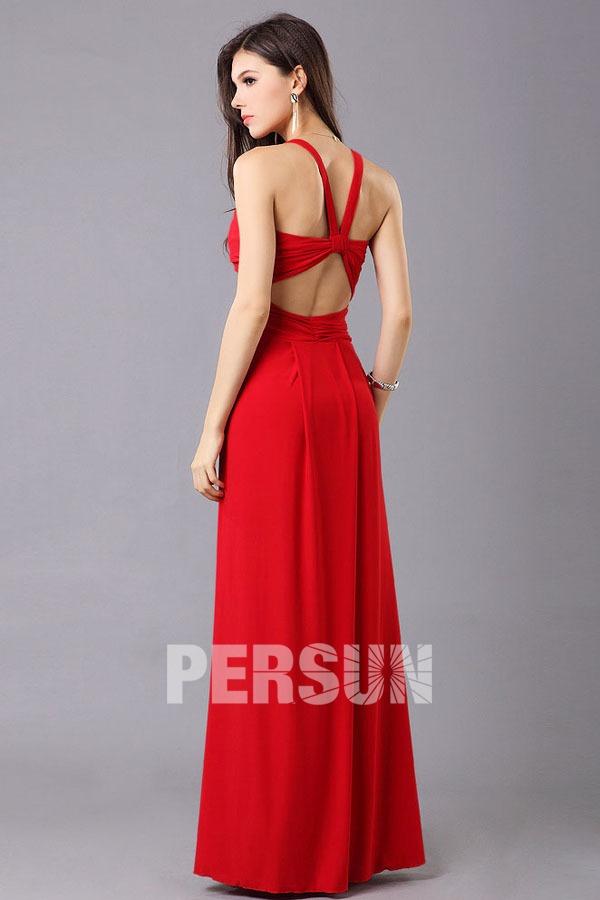 Sexy robe de bal rouge bustier plongeant dos découpé
