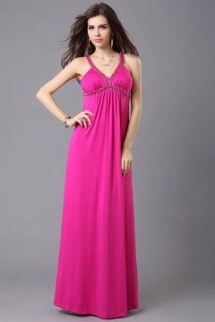 Robe rose de soirée empire ligne-A dos nu en mousseline
