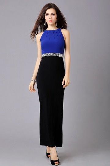 Robe longue ceinturée ornée de strass contraste bleue noire