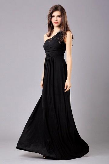 Robe de soirée noire asymétrique ornée de perles en jersey
