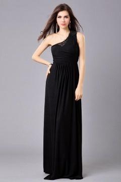Robe noire de soirée empire seule épaule ornée de perles en mousseline