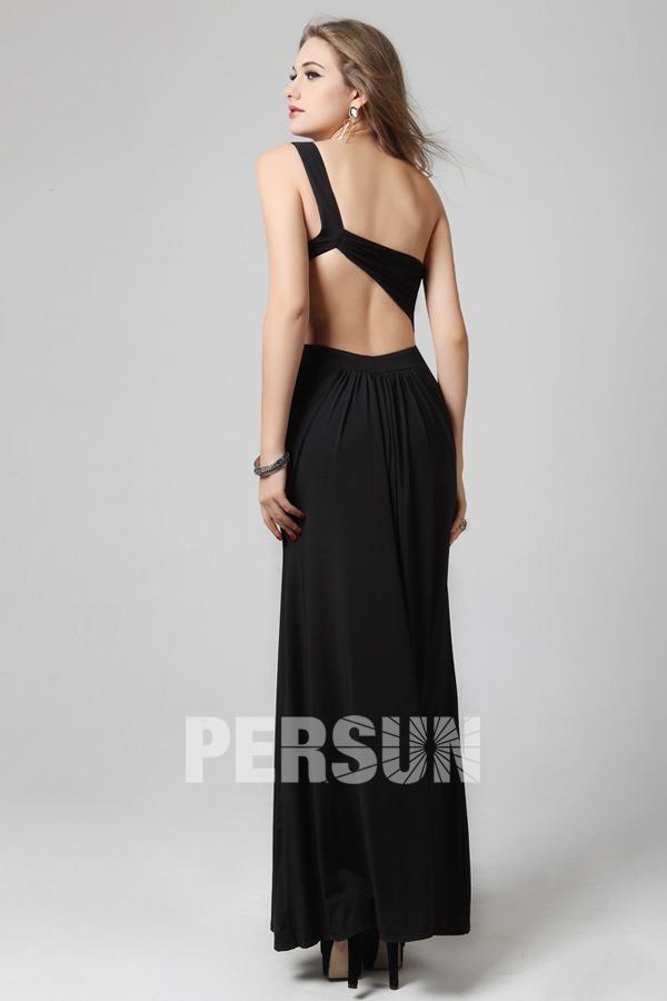 Sexy robe de bal asymérique empire à dos nu ornée de strass