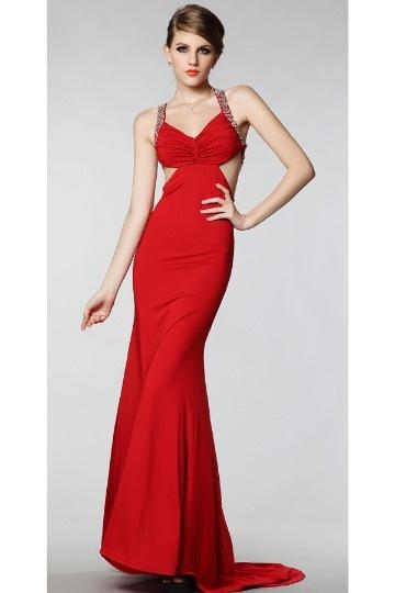 Robe longue de soirée sirène col en V mousseline rouge