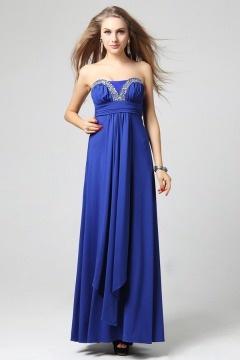 Robe de soirée empire bustier strass ruchée mousseline bleue