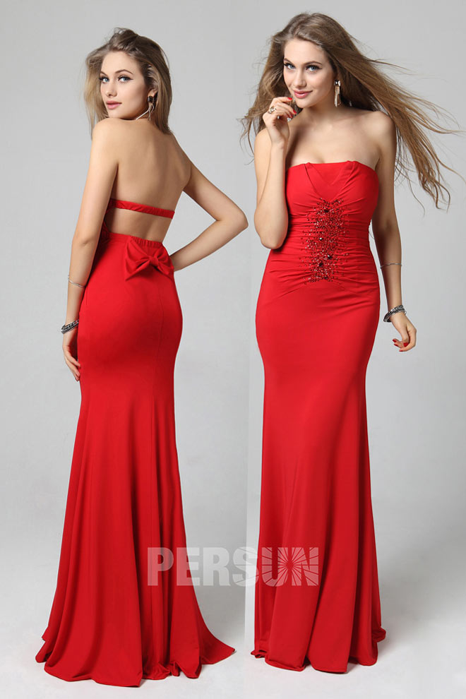 Robe de soirée bustier sirène ruchée en mousseline rouge