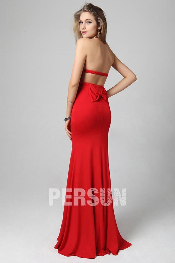 robe rouge fourreau longue dos nu