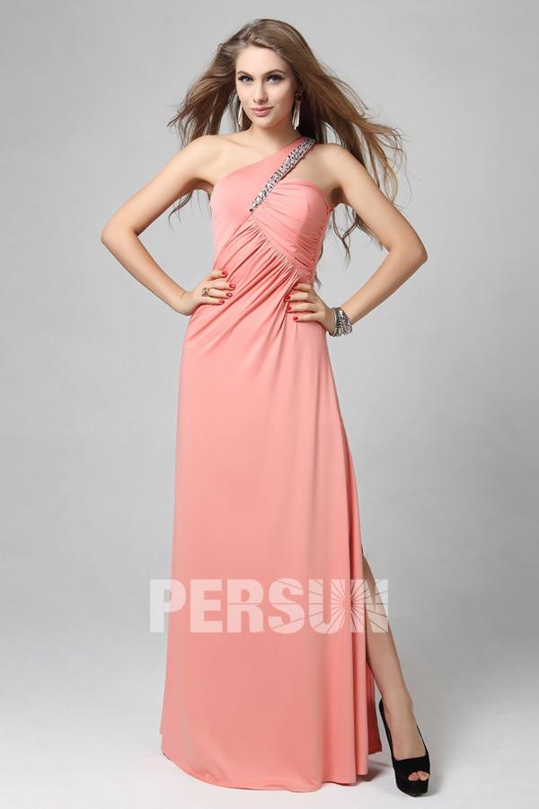 Sexy robe longue asymétrique strassée empire avec fente latérale