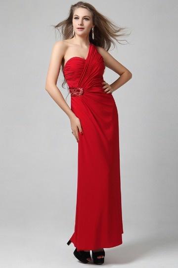 Robe de soirée rouge empire à dos ouvert ligne-A