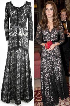 Robe noire dentelle de Kate Middleton longue au sol