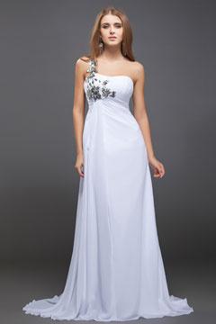 Robe blanche de soirée fleur pailletée asymétrique