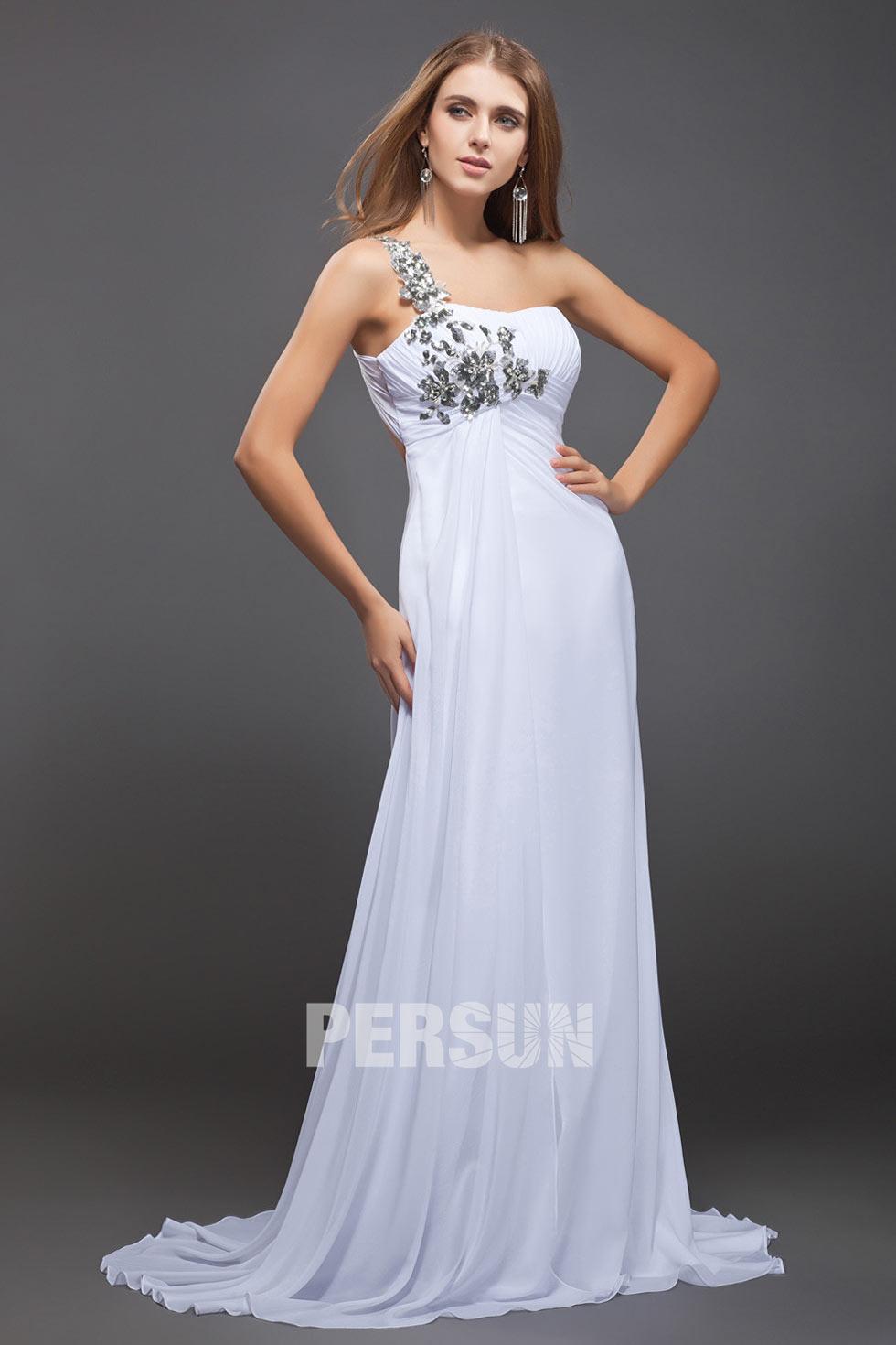 robe de soirée longue empire asymétrique mousseline fleurie