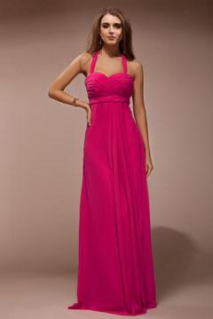 Robe rose bonbon longue bustier cœur empire ruchée en col halter