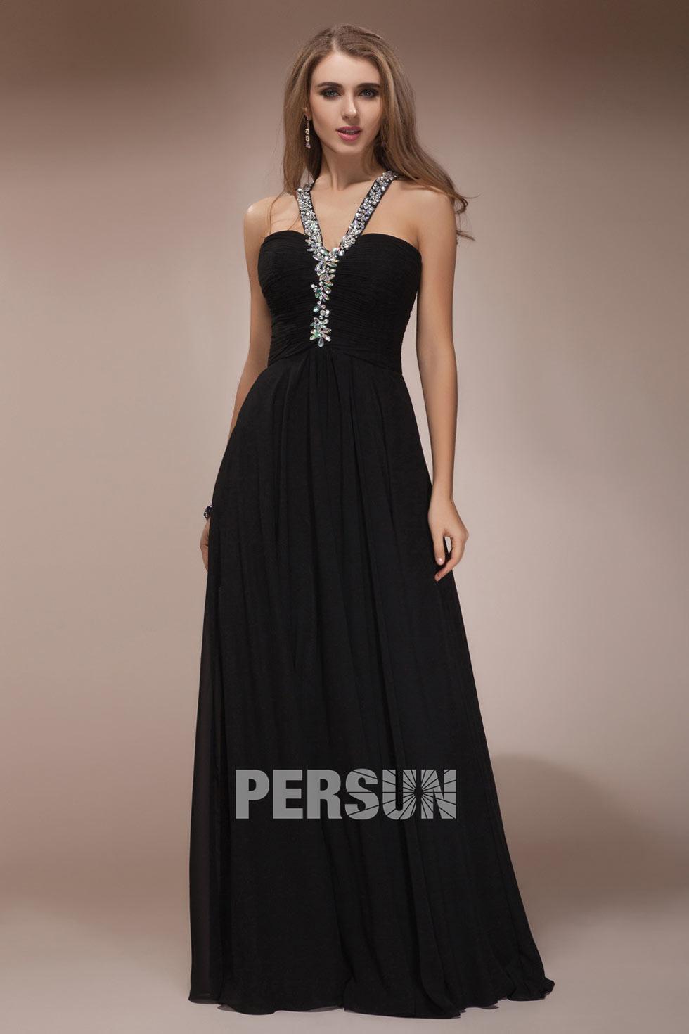 Robe de soirée noire ornée de bijoux ligne-A dos croisé