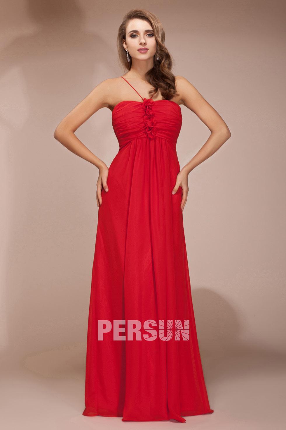 robe rouge longue fleurie avec bretelles fines