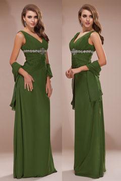 Robe de soirée longue col en V profond en mousseline verte
