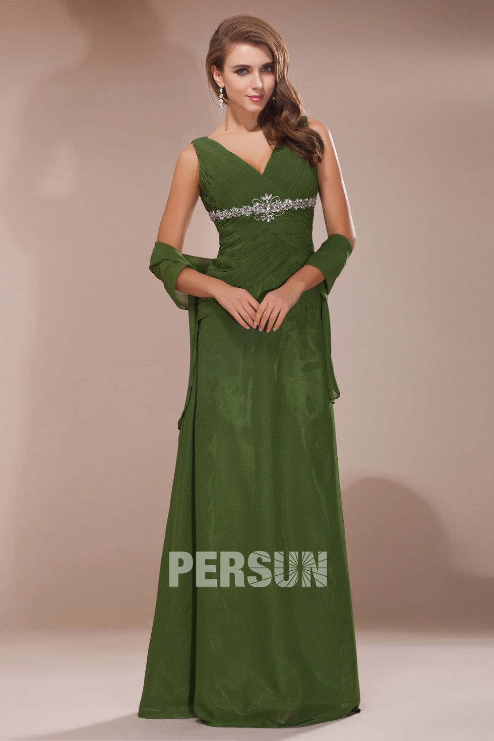 robe longue en ton olive en mousseline