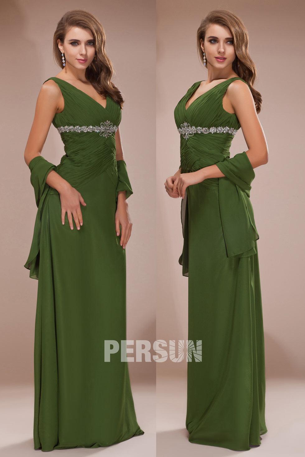 robe vert olive femme à col v