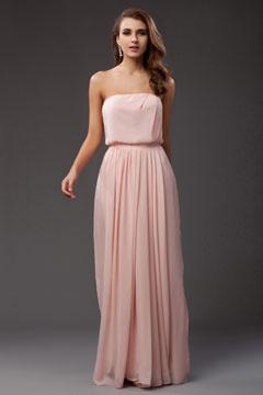 Robe de soirée rose bustier ligne-A en mousseline