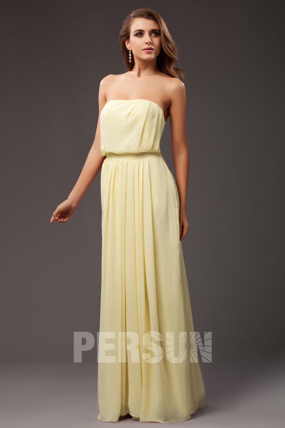 robe demoiselle d'honneur r mousseline fluideose bustier droitrobe de soirée longue jaune