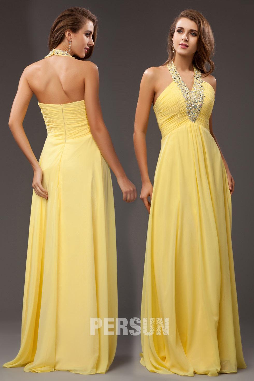 robe de soirée longue jaune empire col halter embelli de strass plissé