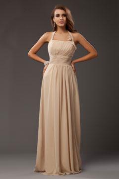 Robe longue rose fuchsia empire encolure américaine