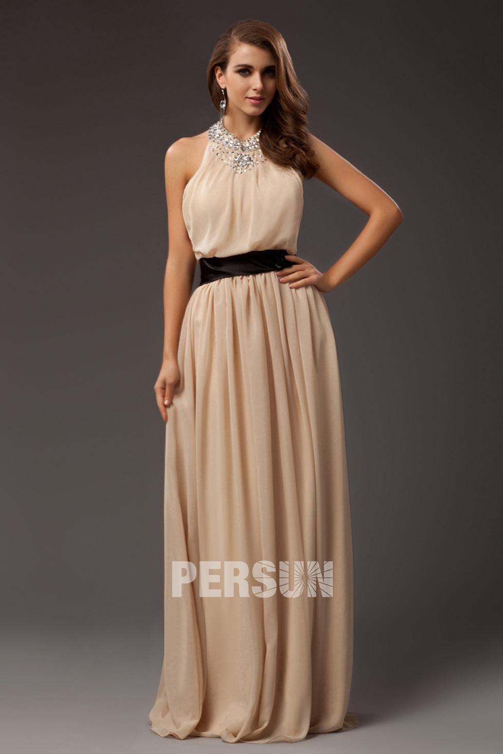 robe de soirée longue princesse champagne en mousseline