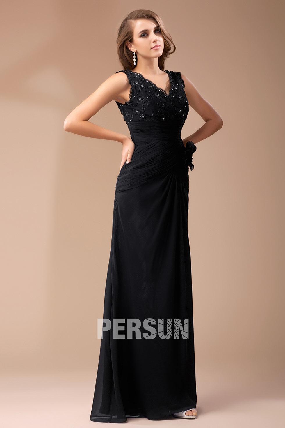 robe noire longue ruchée en mousseline