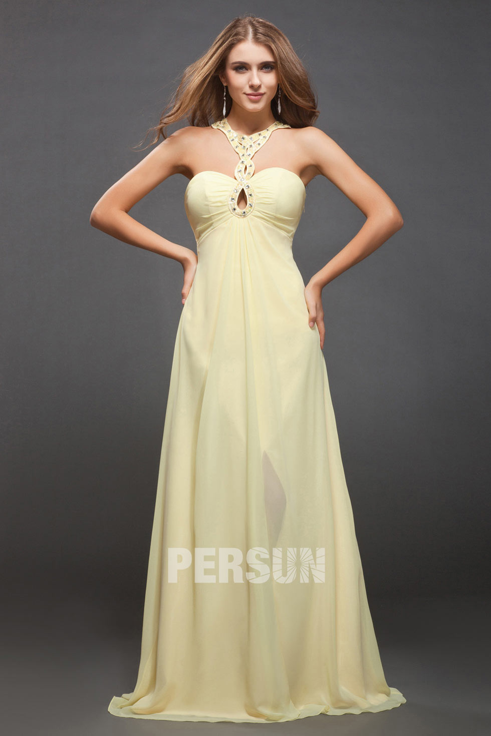 sexy robe longue col halter couleur jaune jonquille