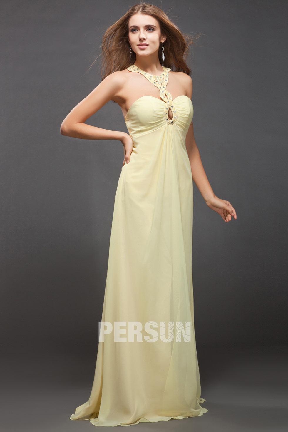 robe de soirée jaune ornée de strass en mousseline