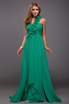 Robe verte de soirée asymétrique fleurs faites main à seule épaule