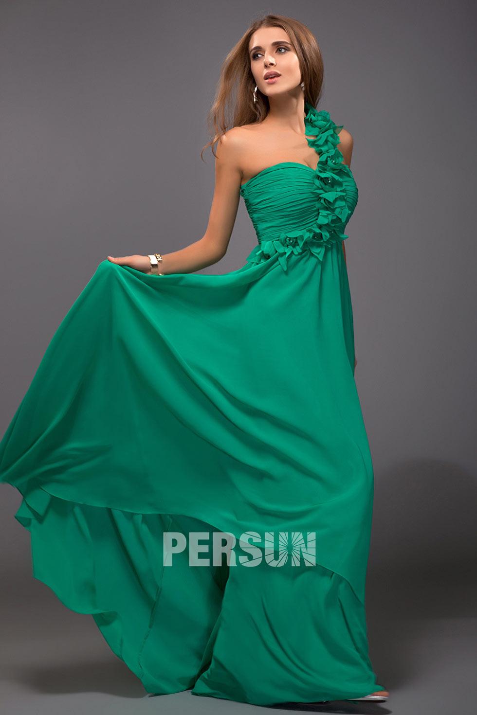 robe de soirée verte en mousseline à une épaule
