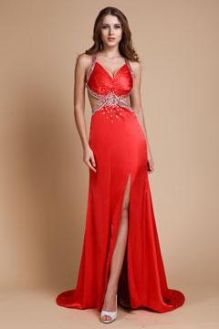 Sexy Robe rouge de soirée ornée de strass avec fente latérale
