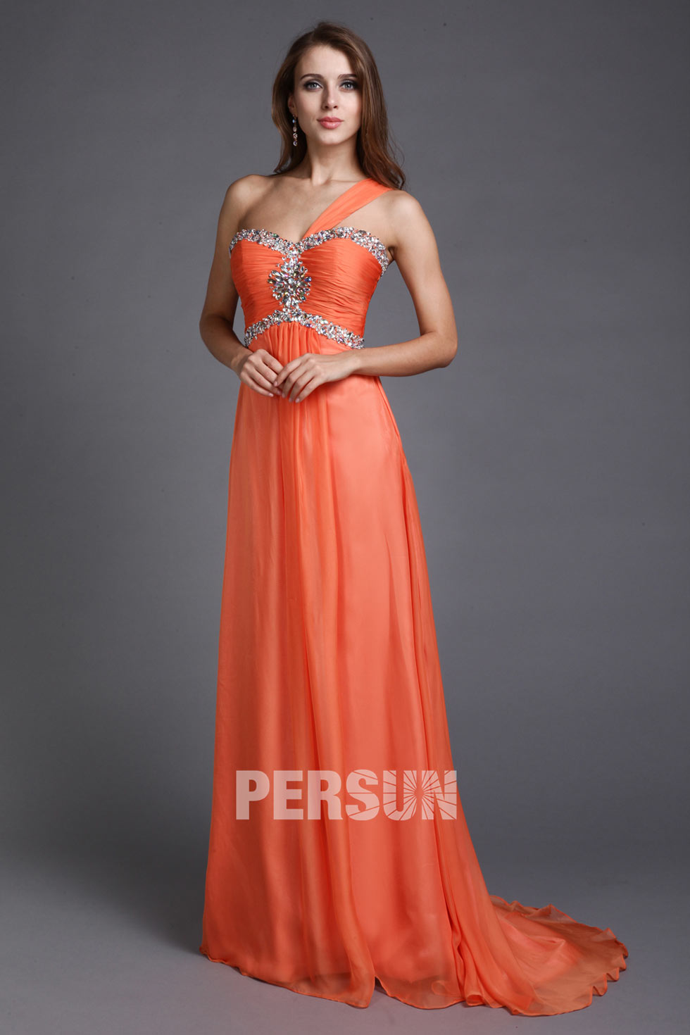 robe de cocktail longue couleur orange ruchée