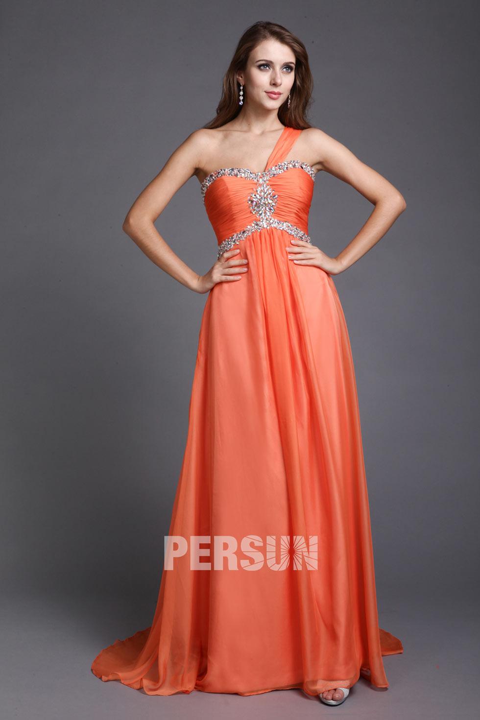 robe longue orange d'anniversaire à col asymétrique