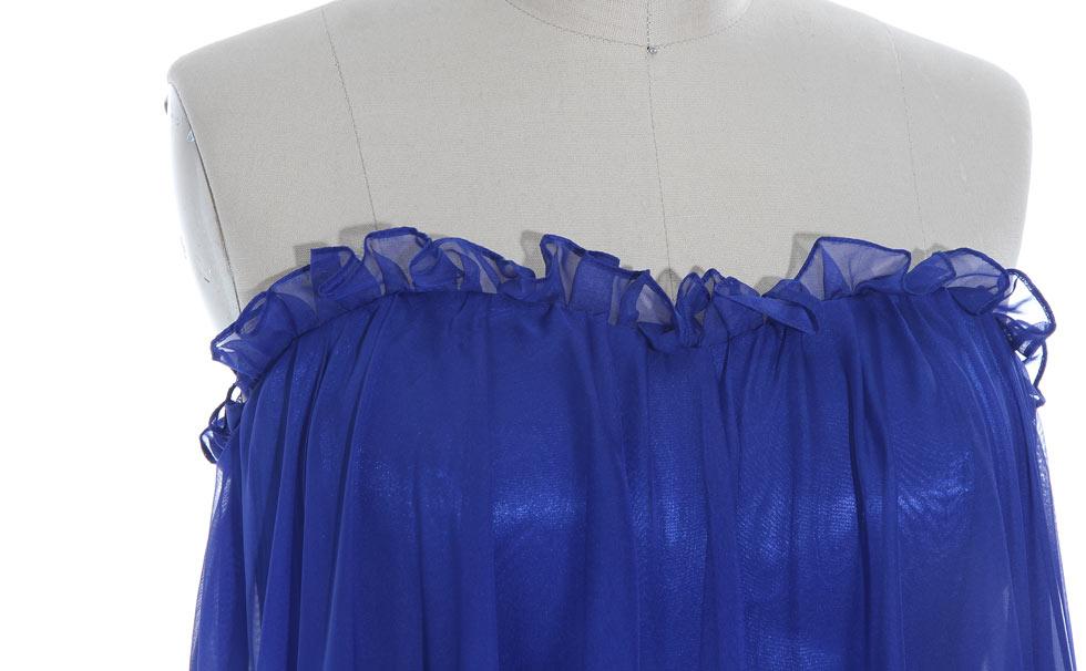 robe de soirée longue bustier bleu en tencel