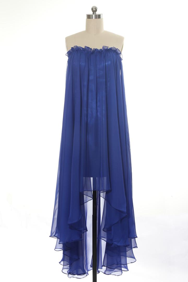 Robe bleu indigo Kardashians Tcas bustier courte devant longue derrière