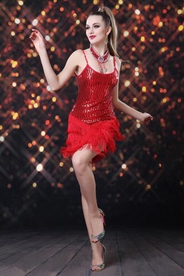 Robe de danse latine à franges avec bretelles en sequin rouge