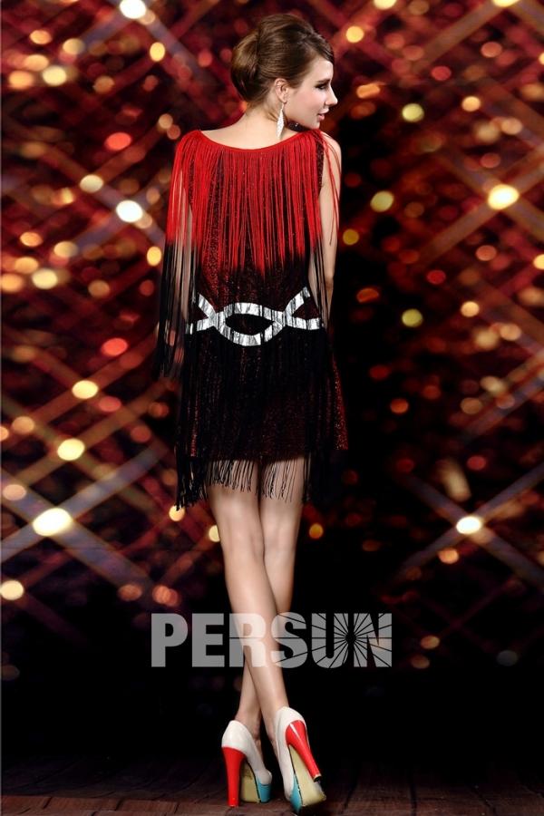 robe danse latine col bateau franges en sequin rouge. Black Bedroom Furniture Sets. Home Design Ideas