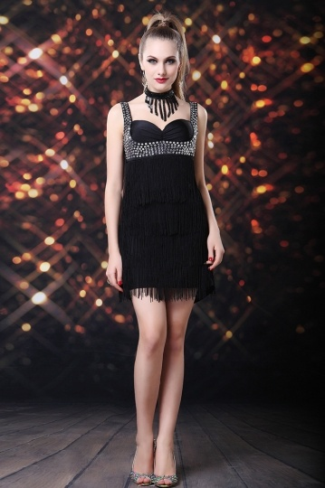 robe de cocktail noire sexy orné de strass