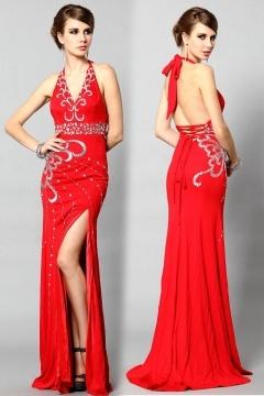Robe de soirée longue ornée de bijoux sirène jersey rouge