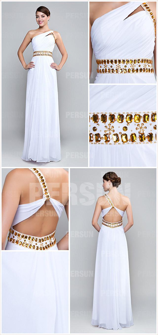Robe blanche de soirée longue asymétrique à dos ouvert