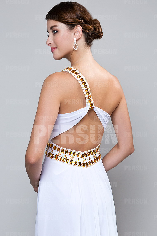 Robe de bal asymétrique brodé de strass dos nu avec fente frontale