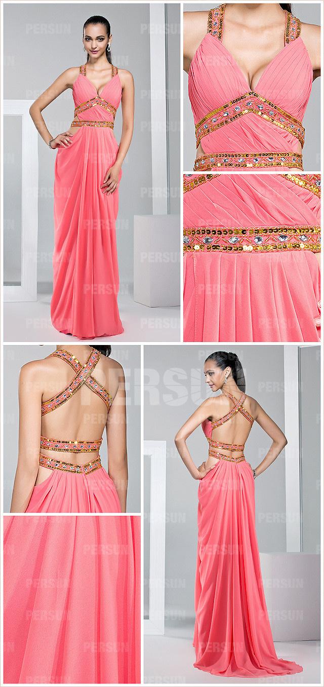 sexy robe longue pour cocktail à dos ouvert