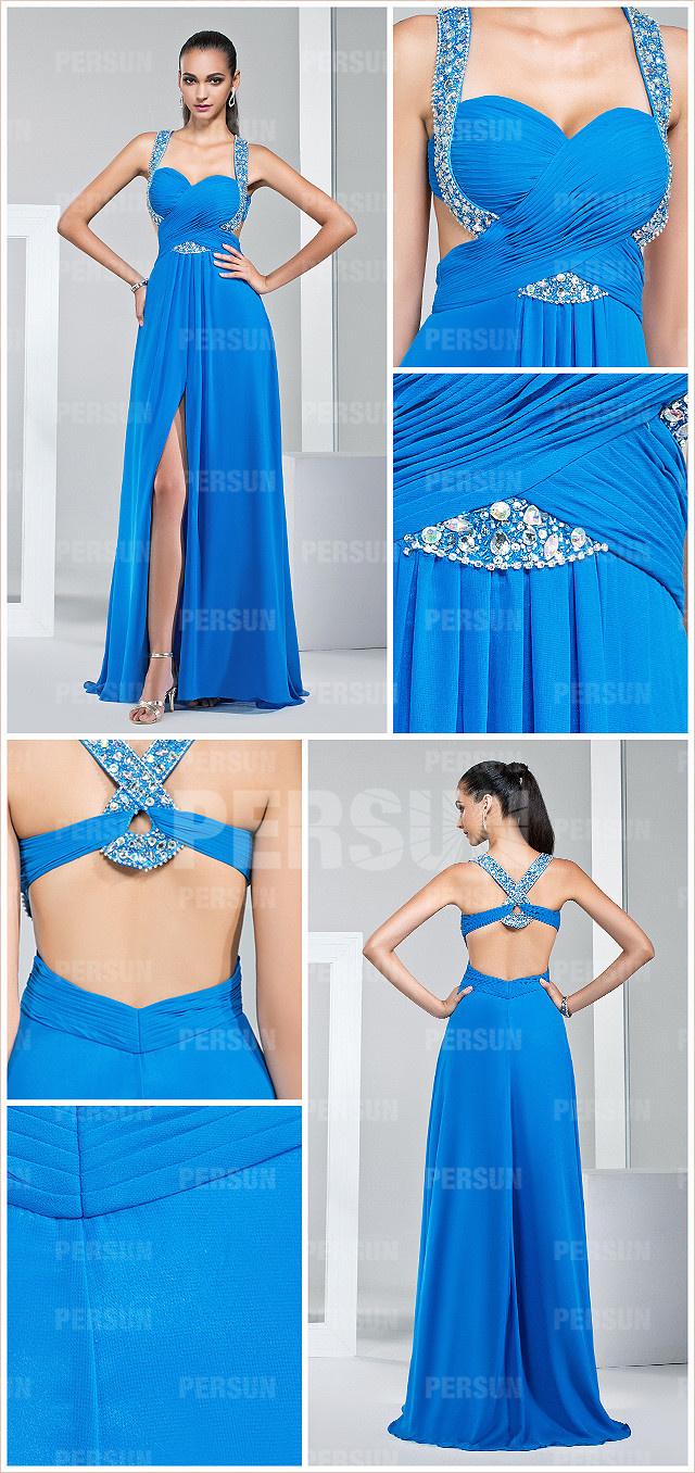robe bleu azurée longue fendue aux bretelles ornées de strass