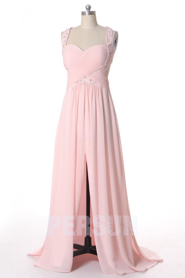 5b7ab86adcf Robe fendue bretelles strassée rose pâle longue dos nu - JMRouge.fr