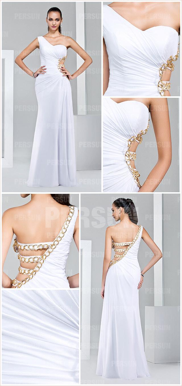 Robe de soirée sexy blanche ornée de chaîne