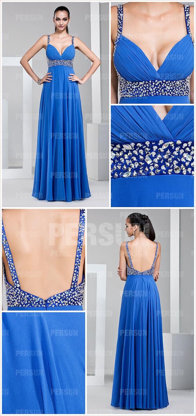 Robe bleue sexy bustier cœur à paillettes & dos nu